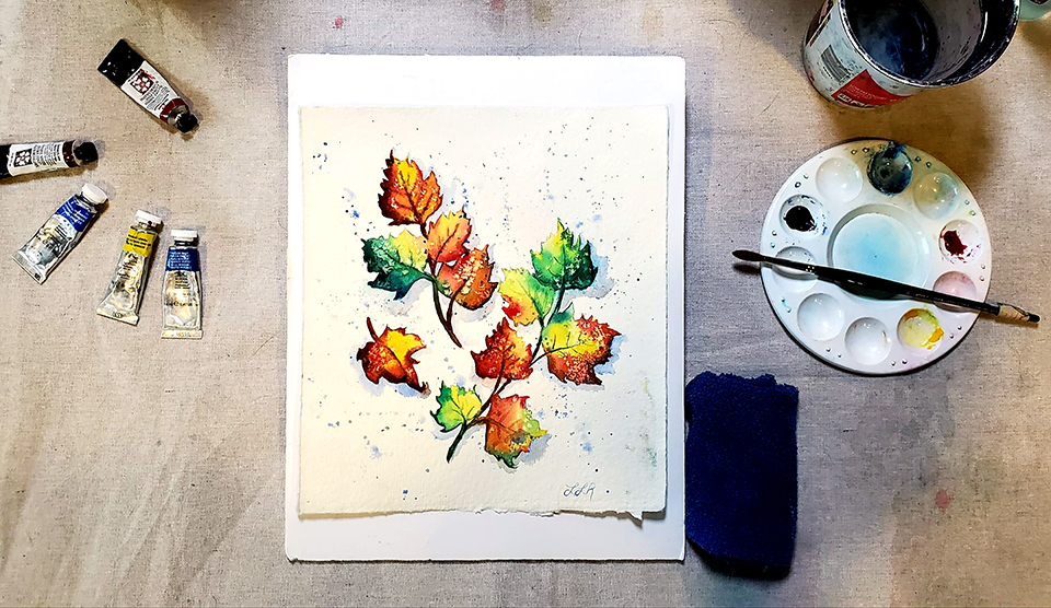 Autumn Leaves in Watercolor Mini-Course and a coupon!
