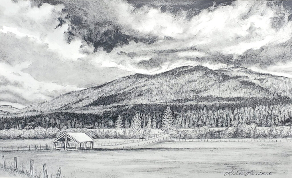 Near Home, graphite drawing